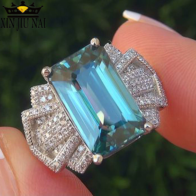 Boho Female Ocean Blue Zircon Stone Ring Cute Luxury 925 Silver Love Wedding Jewelry Promise Engagement Rings For Women