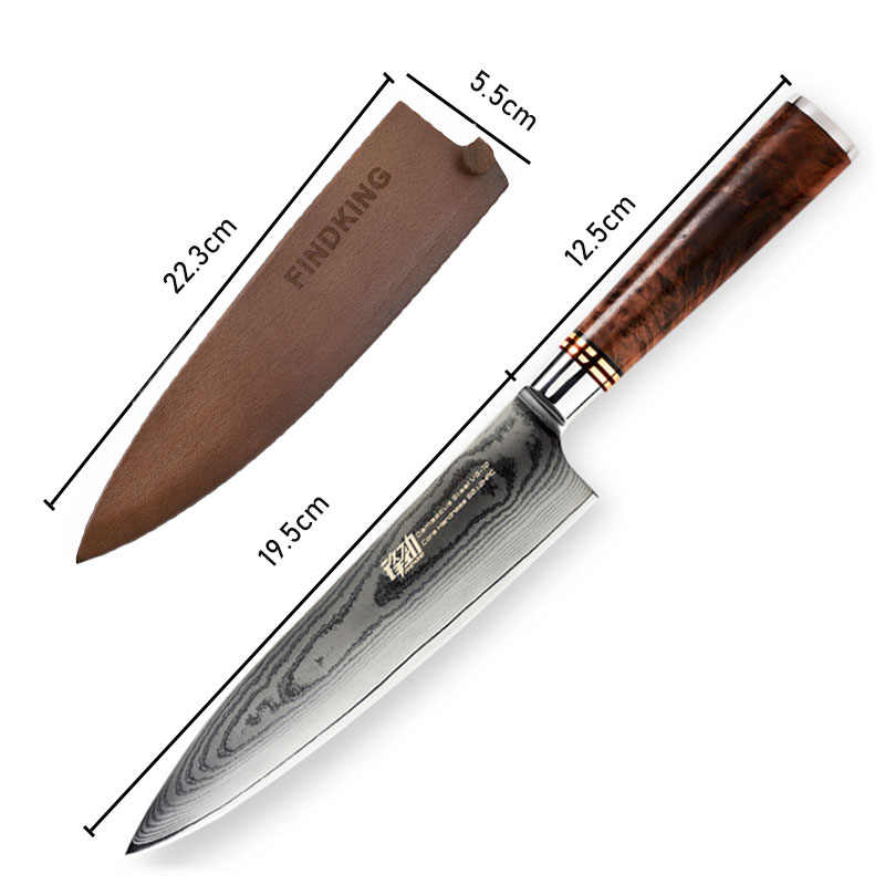 FINDKING 8 inch Sapele wood handle damascus chef knife 67 layers Japenese VG10 damascus steel kitchen knife with wooden cover