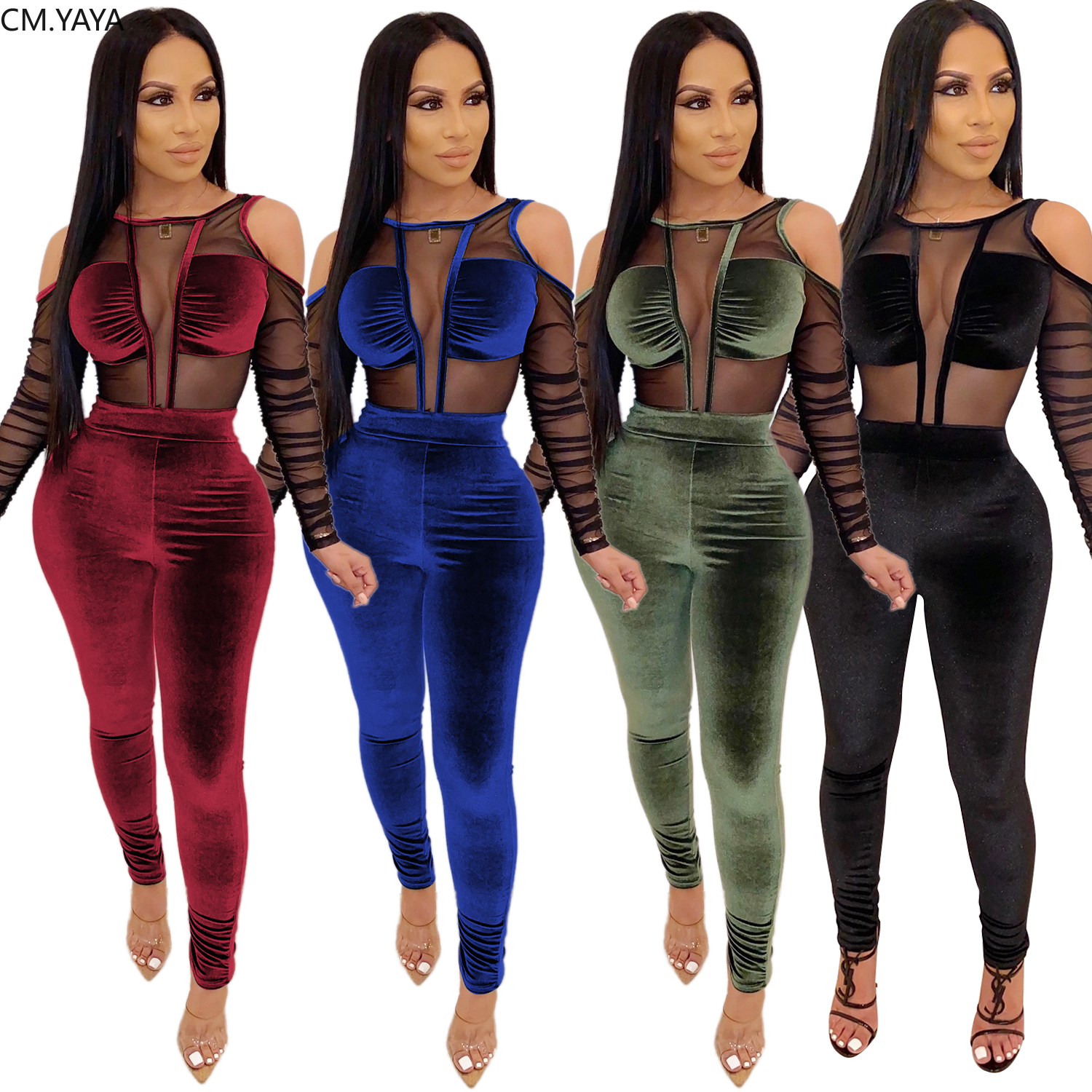 S-Fly Womens Stylish 2 Pieces Outfit Velvet Bodycon Trousers Tracksuit Set