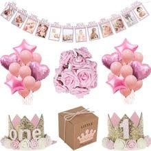 Decoración de MEIDDING First 1St cumpleaños fiesta chica Baby Shower decoración Oh bebé número globos foto Banner niños Rosa regalos