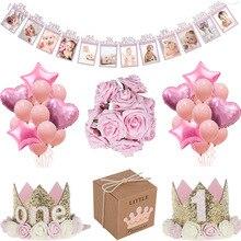 MEIDDING первый 1 й декорации дня рождения девочка украшение душевой кабины Oh Baby номер воздушные шары фото плакат дети розовые подарки