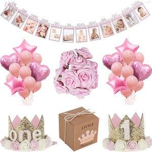 Image 1 - MEIDDING premier 1St fête danniversaire décors fille bébé douche décoration Oh bébé nombre ballons Photo bannière enfants rose cadeaux