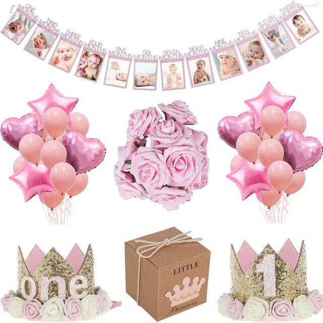 MEIDDING premier 1St fête danniversaire décors fille bébé douche décoration Oh bébé nombre ballons Photo bannière enfants rose cadeaux
