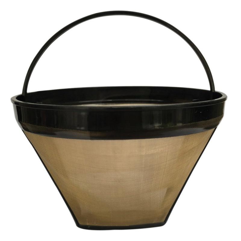 Многоразовый фильтр для кофе из нержавеющей стали, фильтр для машины, Золотая сетка с ручкой, кофейные инструменты