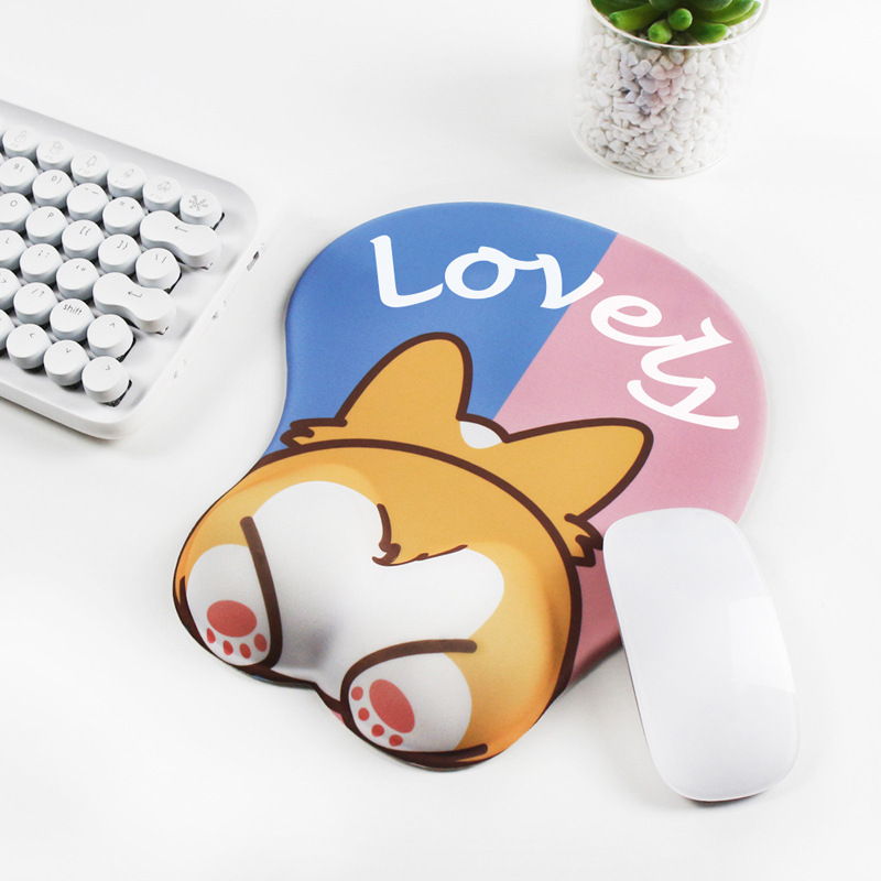 Pink 3D Mouse Pad Corgi Mouse Mat Non Slip Silicone Anime Dog Mousepad with Wrist Rest for Office