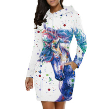 Sweatshirt Slim Tunic Long Sleeve Print Aesthetic Hoodie Gothic Womens Clothing Unicorn Harajuku Fashion Designer Personality