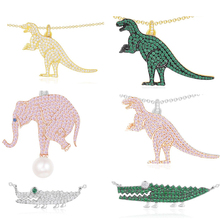Ailie high quality 1:1 original 925 sterling silver necklace A dinosaur crocodile elephant modeling PM lady fashion jewelry gift
