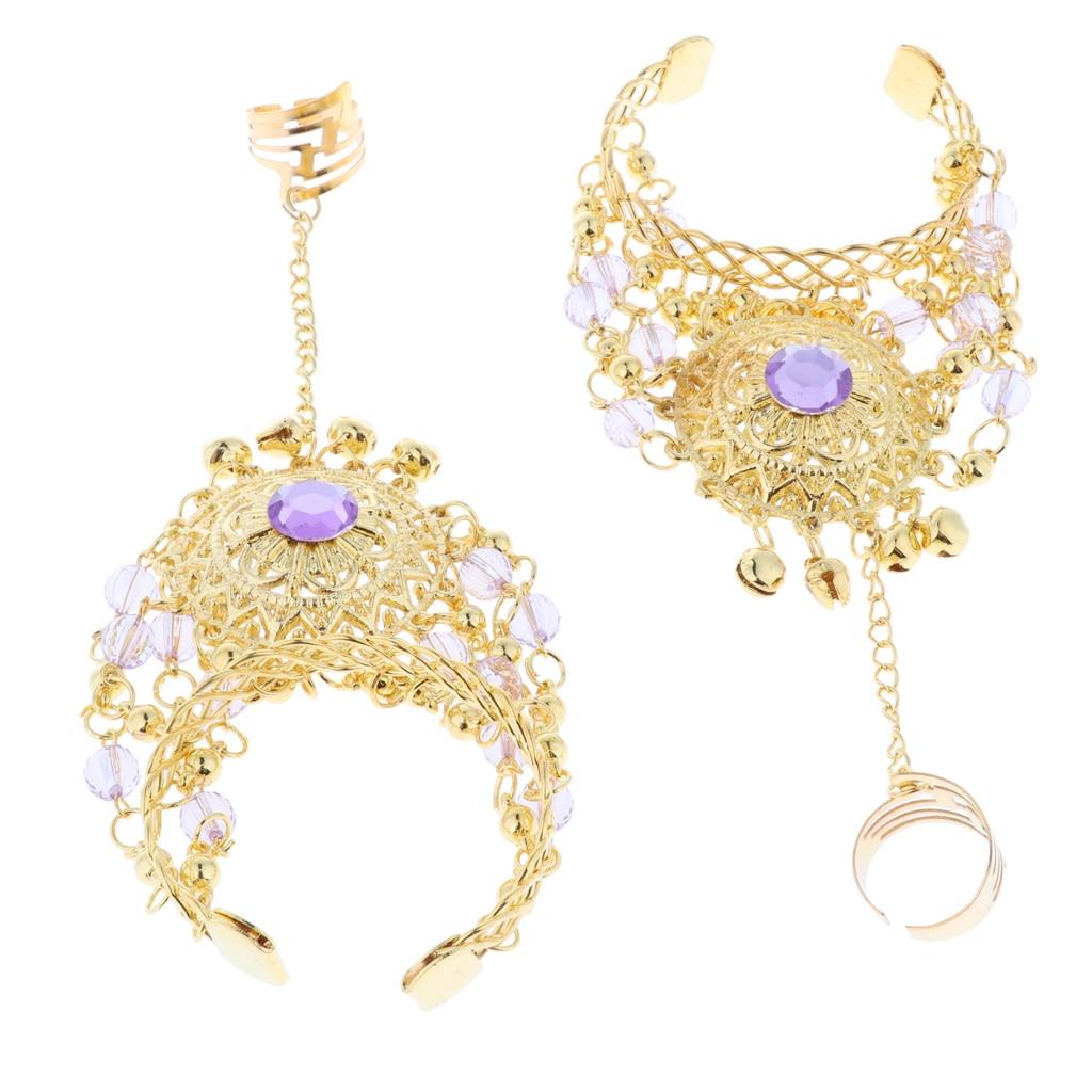 2x Crystal Belly Dance Slave Bracelets Chain Bangle Finger Ring Hand Harness