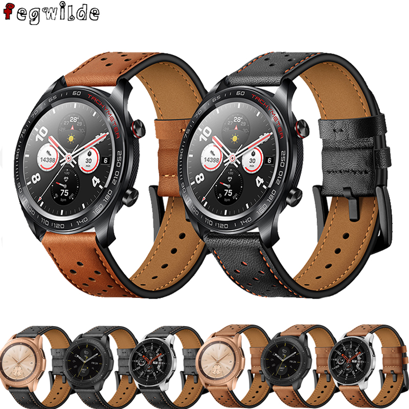 Strap For Samsung S3 Frontier Galaxy Watch 46mm Amazfit Bip Huawei Watch Gt2 Strap 22mm Watch Band Leathe Watchband Gear S 3