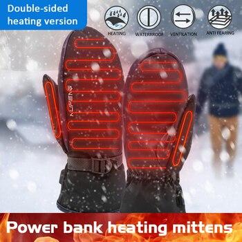 Перчатки с подогревом пальцев, варежки для сенсорного экрана, водонепроницаемые ветрозащитные перчатки с электрическим подогревом, теплые...