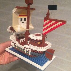 Image 4 - ZMS construcción de un barco de piratas en 3D para niños, One Piece, Luffy, Going, Merry, barco, modelo, DIY, Mini bloques de diamante, juguete de construcción, sin caja, 3445