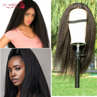 Kinky Straight Wig Human Hair Wigs Lace Closure Wig 180% Remy Brazilian Hair Wigs Real Human Hair Lace Wig Pelucas Baratas