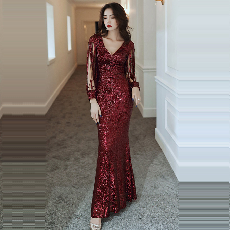 Long Sleeves Evening Dress Sexy V-neck Evening Gown K016 2019  Plus Size Mermaid Robe De Soiree Burgundy Sequins Formal Dresses