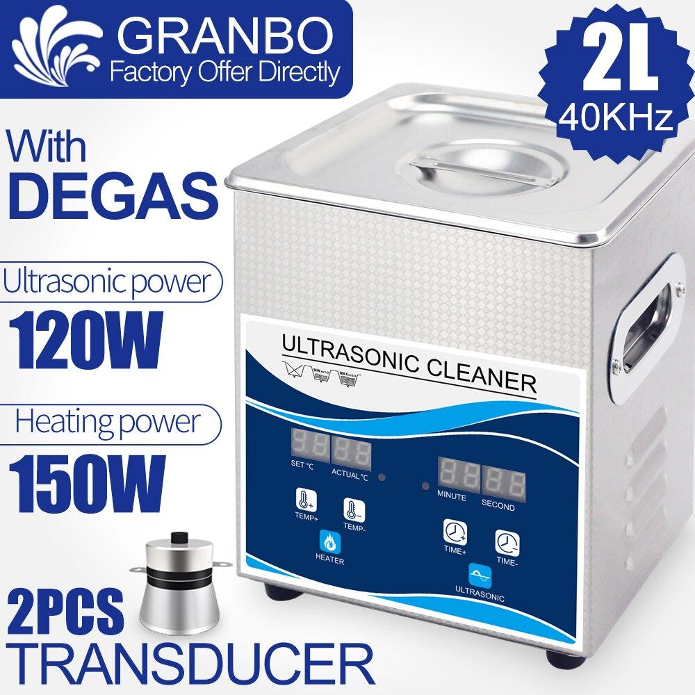 Granbo Digital Ultrasonic Cleaner Bath 2L Heater Timer Degas 120W Ultrasound Power Quality Piezoeletric Transducer 40khz Washer