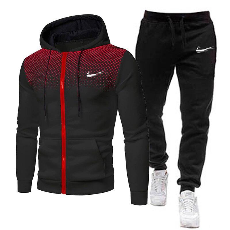 Спортивный костюм мужской из 2 предметов, свитшот с капюшоном и штаны на кулиске, брендовая спортивная толстовка, спортивная одежда для бега...