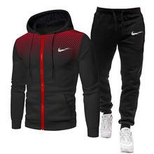 2 peças conjuntos de treino dos homens marca outono inverno com capuz moletom + calças com cordão masculino esporte hoodies corrida esportiva