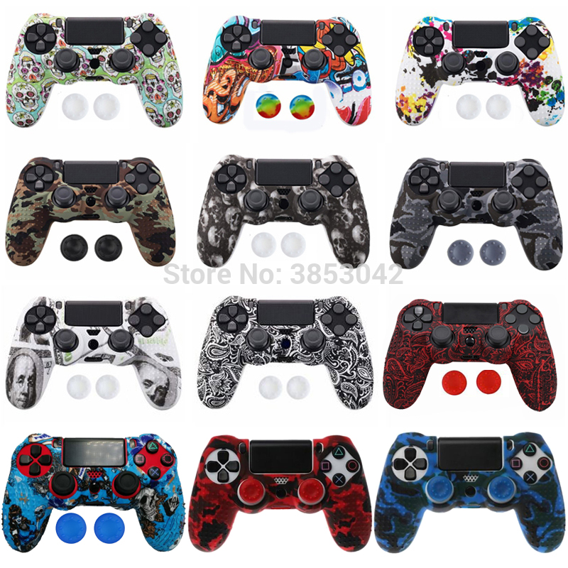 Anti-slip Silicone Cover Skin Case for Sony Play Station Dualshock 4 PS4 Pro Slim Controller+ 2 Thumb Stick Grips Caps(China)