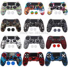 Anti slip Silicone Cover Skin Case for Sony Play Station Dualshock 4 PS4 Pro Slim Controller+ 2 Thumb Stick Grips Caps