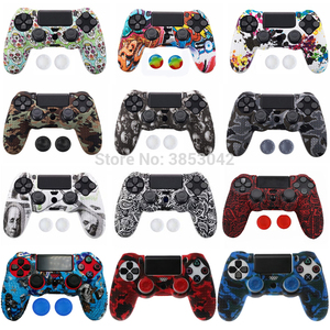 Image 1 - Anti slip Silicone Cover Skin Case for Sony Play Station Dualshock 4 PS4 Pro Slim Controller+ 2 Thumb Stick Grips Caps