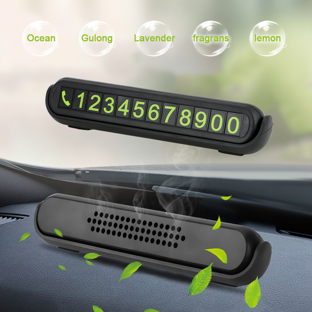 Luminous Telephone Number Card Hidden Number Plate Universal With Fragrance Tank Auto Accessories Car Temporary Parking Card 1