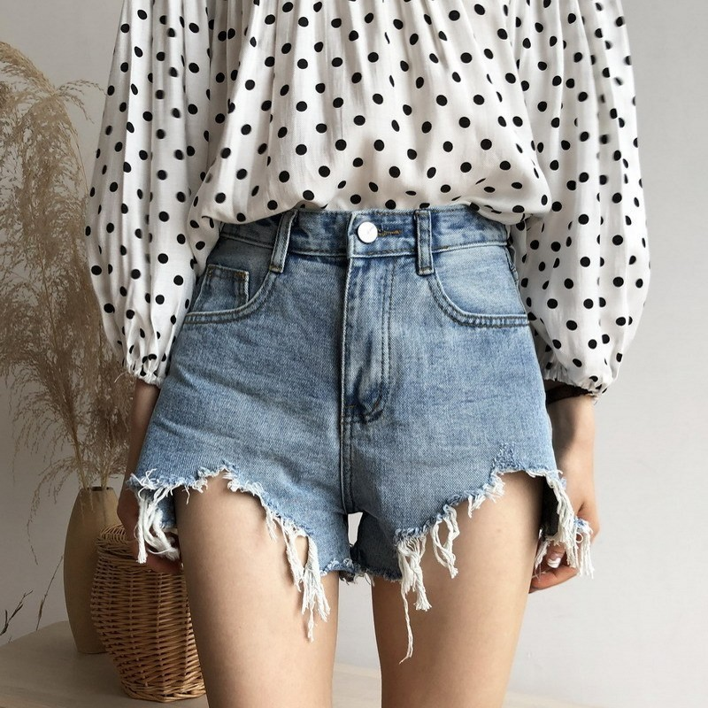Punk Style Women High Waist Tassel Frayed Shorts Female Wide Leg Plus Size Denim Shorts Korean Style Summer Casual Hot Shorts