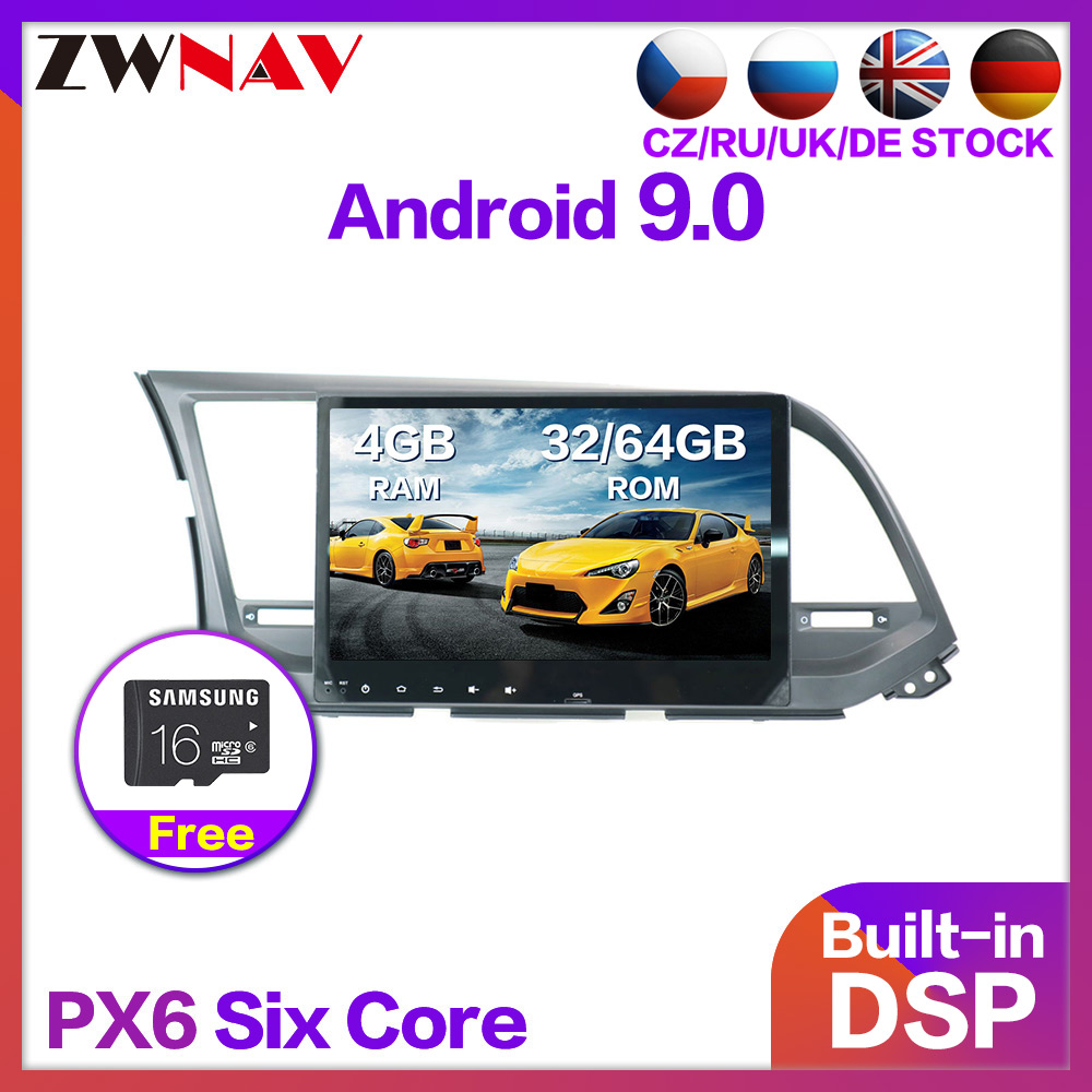 4+64GB Android 9.0 Car <font><b>GPS</b></font> Multimedia Player For <font><b>HYUNDAI</b></font> <font><b>Elantra</b></font> 2016-2019 Car DVD Navigation Radio Video Audio Car Player 2 din image