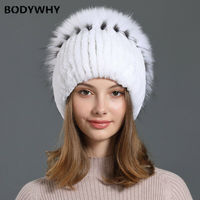 Women Hat Fox Fur Warm Genuine Real Knit Rex Rabbit Hat Cap with Silver Hat Female Warm Snow Caps Ladies Elegant Princess Hat