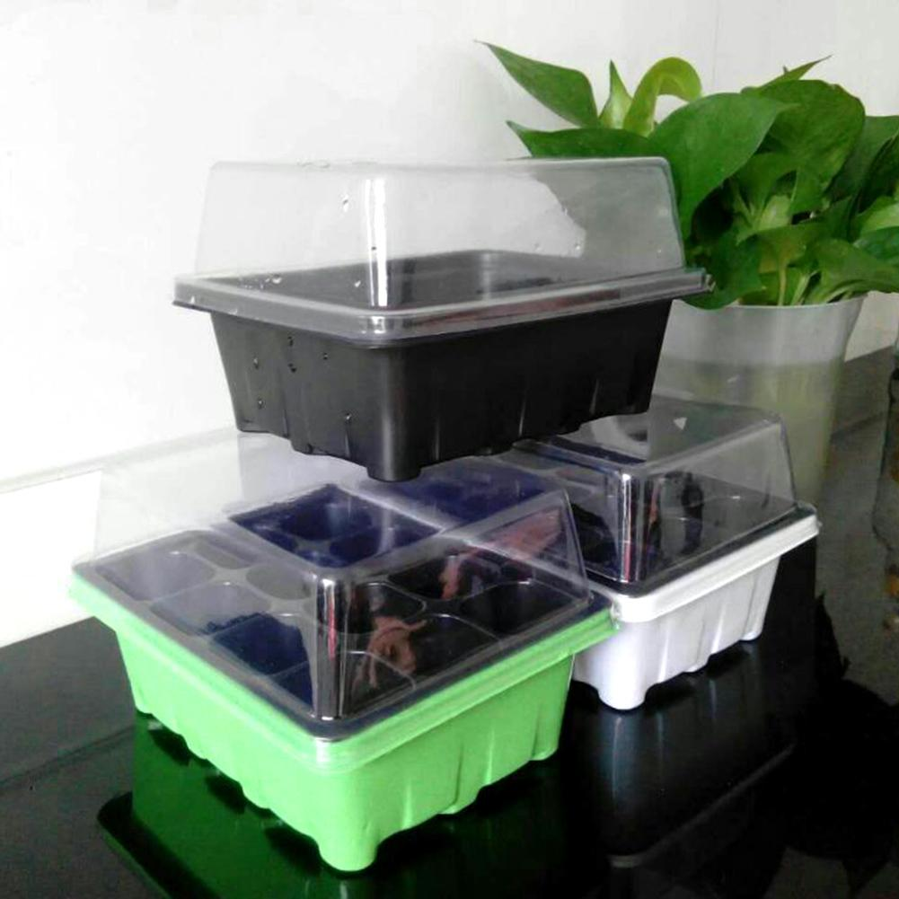 12 Cells Seed Tray Grow Box Nursery Pot Seedling Starter Germination Kit with Dome Plant Tags for Flower Garden