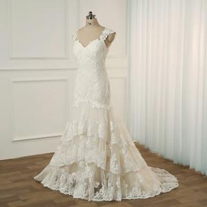 Image 3 - Jiayigong Plus Size Wedding Dress Cap Sleeves Sweep Train Wedding Vestidos Cerimonia Vestido De Noiva Bridal Gowns