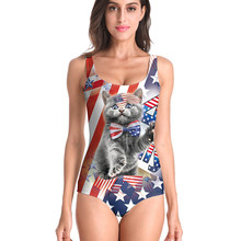 Swimsuit Women One Piece Digital Printed American Independence Day Swimming Suit For Women Swimsuits Female Bathing Suit 2020(China)
