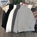 T-shirts Frauen Weiß Schwarz Gestreiften Allgleiches Koreanische Stil Streetwear T Hemd Frauen Rollkragen Hohe Qualität Trendy Kleidung Chic