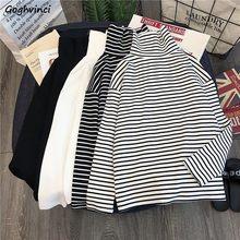 T-shirty damskie białe czarne paski cały mecz koreański styl Streetwear T Shirt damskie golf wysokiej jakości modne ubrania Chic
