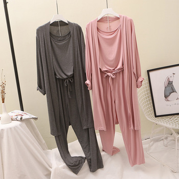 Modal Pajamas Suits Women Home Wear Fashion Goddess Cardigan+tank Top+pants Three-Pieces Set Outfit Lazy Wind - discount item  10% OFF Women's Sleep & Lounge