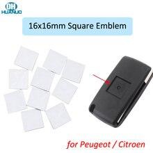 Высокое качество! 16x16 мм корпус автомобильного ключа квадратная эмблема символ наклейка логотип для-Citroen для-Peugeot