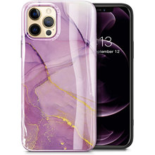 Case For iPhone 12 Pro Max 11 Marble Ultra Slim Thin Glossy TPU Rubber Stylish Flexible Protective Case Cover Romantic Purple