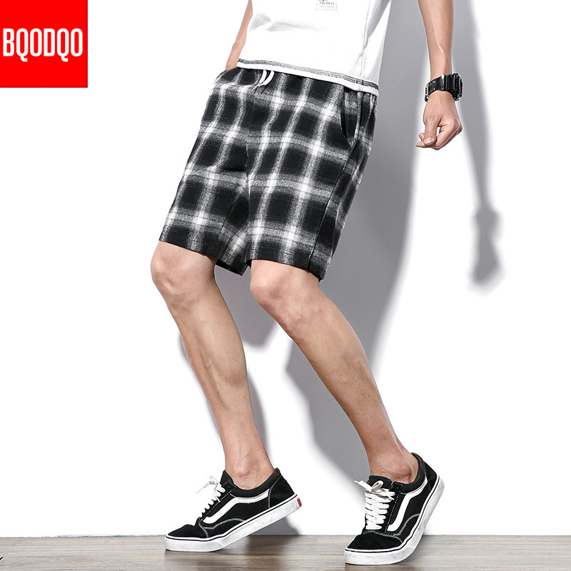 Plaid Streetwear Beach Board Shorts Men Black Baggy Summer Cotton Male Gray Hip Hop Casual Gym Bodybuilding Short Trousers Pants
