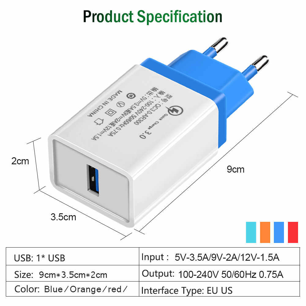 USB Phone Charger Quick Charge 3.0 2.0 EU/US Plug Travel Wall Fast Charging Adapter For Samsung HTC Tablets Mobile Phone Charger