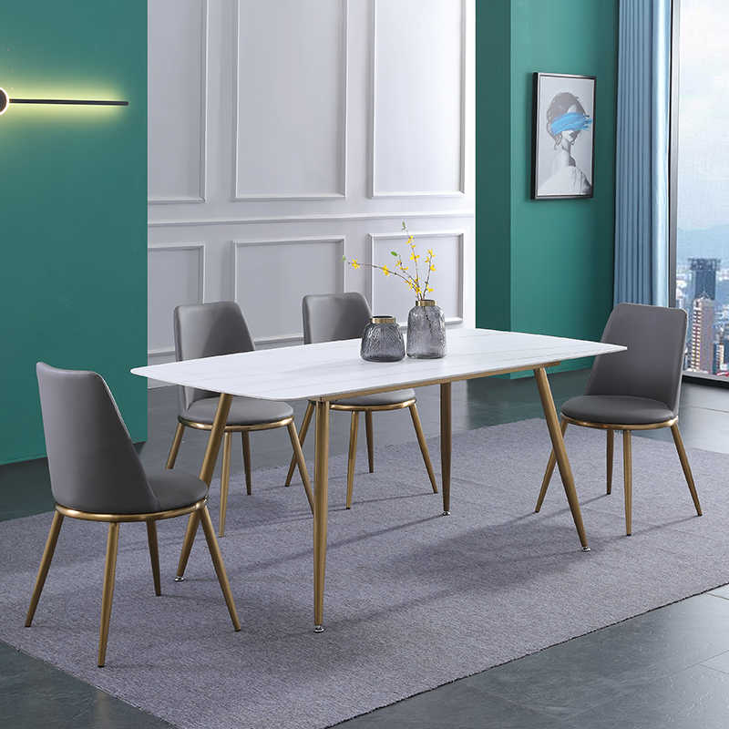 White Modern Dining Table Sets Oval Slate Marble Top 4 And 6 Seater Dining Room Table Cheap Grey Pu Leather Chairs Dining Tables Aliexpress