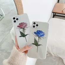 цена на 2020 New blue Rose phone case for iphone 11 case thin TPU for iphone XR XS MAX 7 8 6 6S plus for iphone case cover fundas back