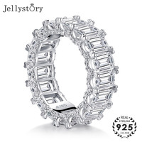 Jellystory luxury rings for women wedding engagement S925 sterling silver charms ring with 5a zircon gemstone fine jewelry gift