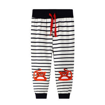 Jumping meters New Animal Embroidery Autumn Spring Sweatpants Drawstring Childrens Long Pants Fashion Baby Trousers