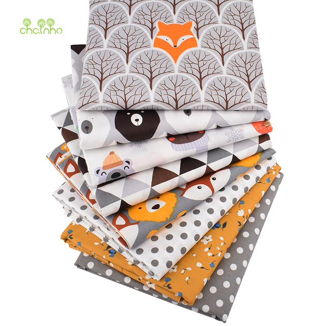Chainho,8pcs/Lot,Jungle Animals Series,Printed Twill Cotton Fabric,Patchwork Cloth,DIY Sewing Quilting Material For Baby&Child 4