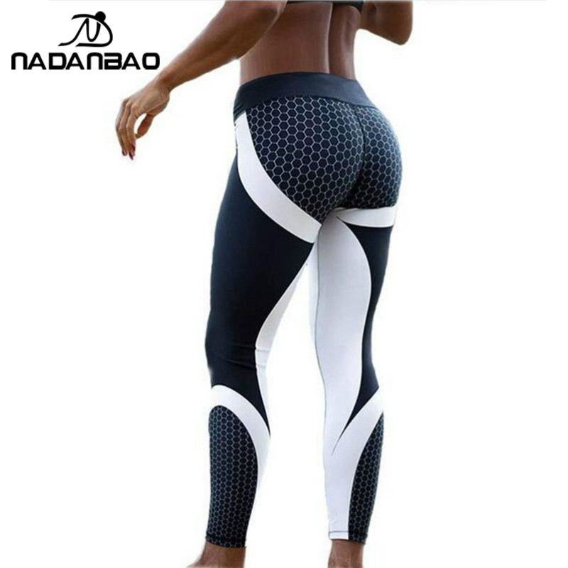 NADANBAO New Arrival Pattern Leggings Women Printed Pants Work Out Sporting Slim White Black Trousers Fitness Leggins-in Leggings from Women's Clothing