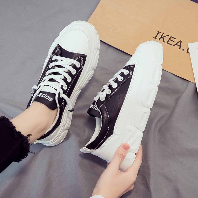 2020 Spring Women Platform Sneakers INS Fashion White Tenis Female Sports Chunky Casual Shoes Leather Lace Up Flat Woman Shoes