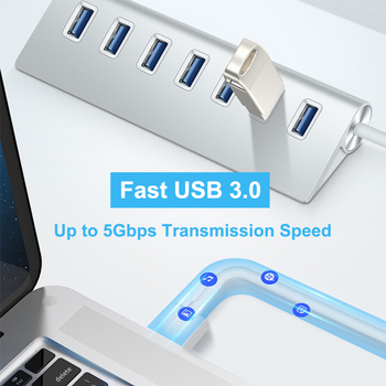 USB 3.0 HUB 7 Port Power Adapter for Mac and PC