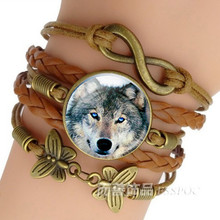 Retro Punk Style Leather Jewelry Glass Cabochon Moon Wolf Pattern Bracelet Beaded Charm Wrap Bangles for Men Women boys gifts