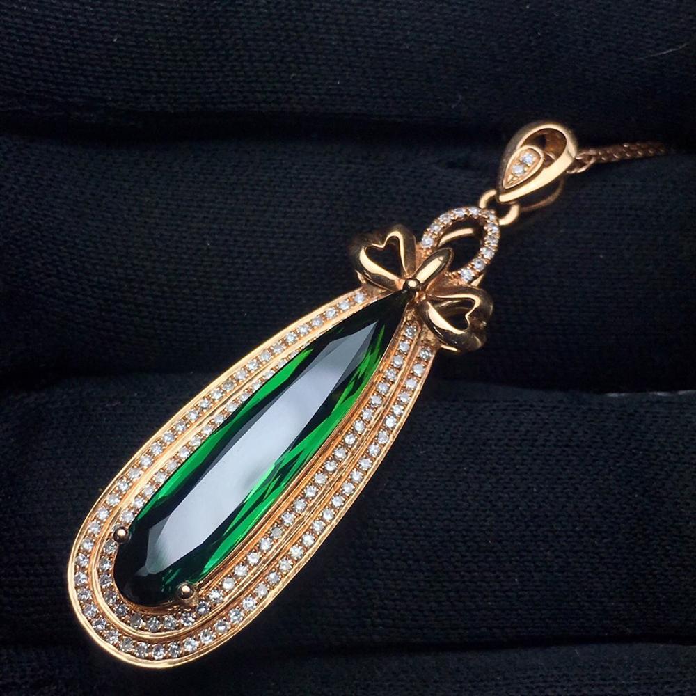 Fine Jewelry Real 18 K Natural Bluish Green Tourmaline 7.3ct Brazil Origin Diamonds Gemstone Diamond Women's Pendants Necklaces