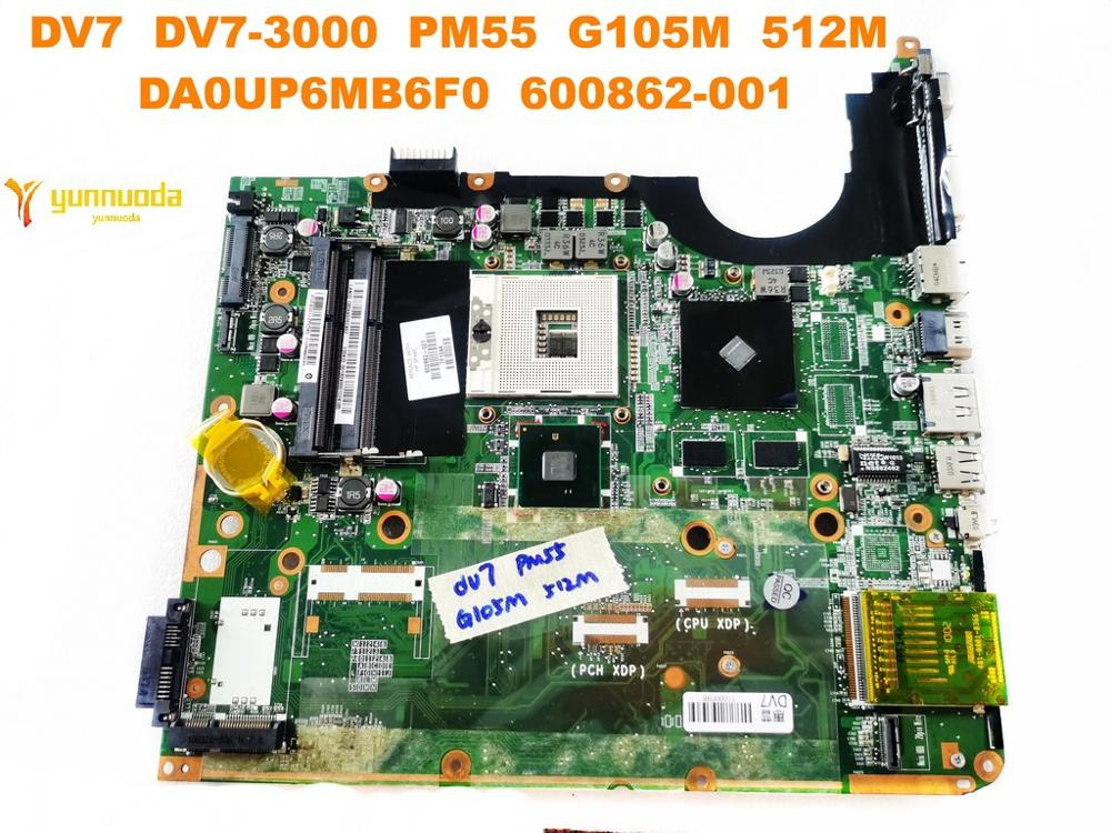Original For HP DV7 Laptop Motherboard DV7  DV7-3000  PM55  G105M  512M  DA0UP6MB6F0  600862-001 Tested Good Free Shipping