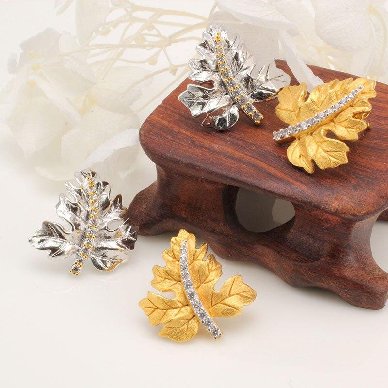 CMAJOR 925 argent Sterling Vintage zircon cubique ton or feuille goujons boucles d'oreilles à la main pour les femmes