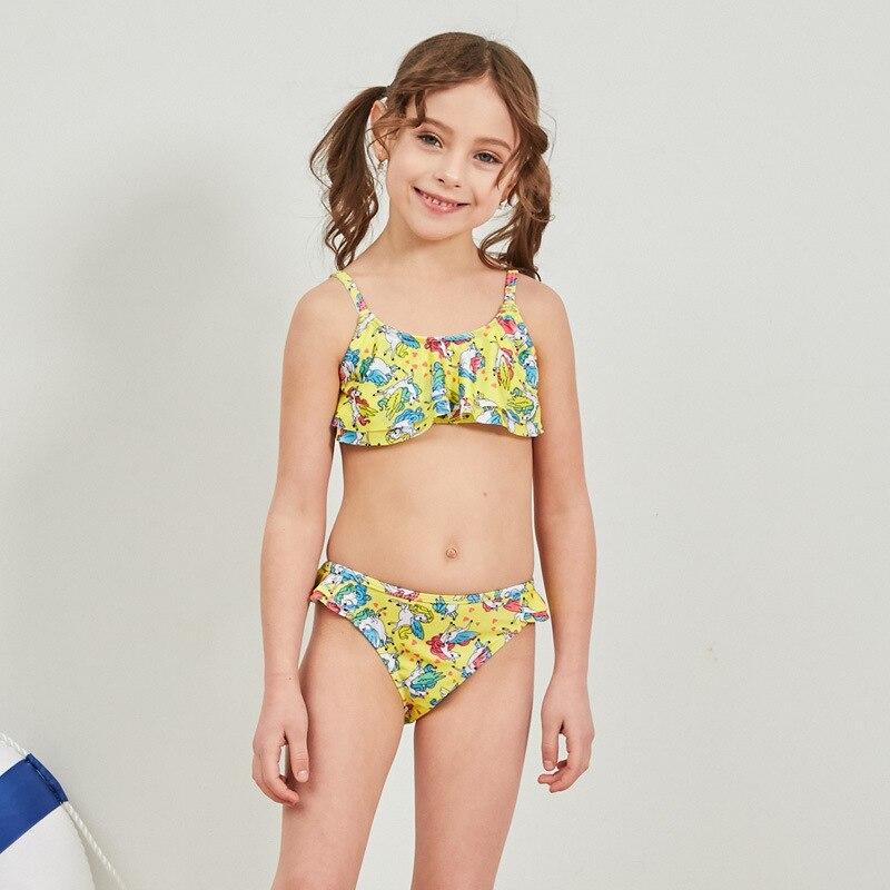 2019 New Style Hot Sales Split Type Bikini Bathing Suit Cartoon Camisole Triangular Sweet Fresh-Style Girls KID'S Swimwear